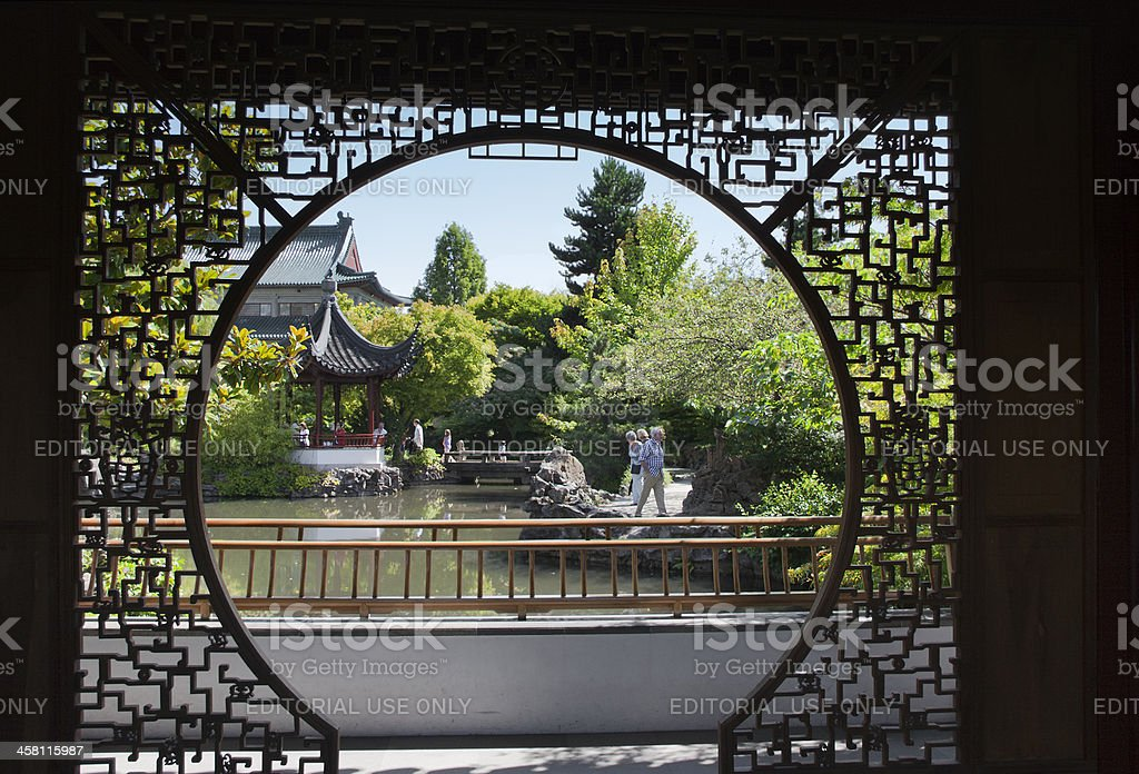 Chinese Garden with Pagoda and Pond in Vancouver, Canada royalty-free stock photo