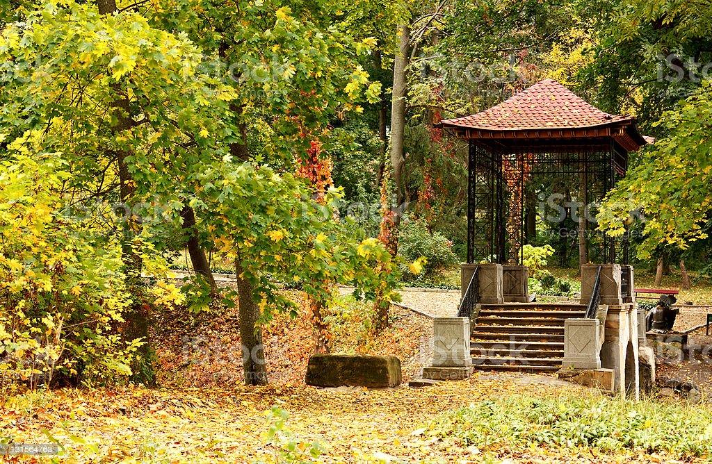 Chinese gazebo in autumn park royalty-free stock photo