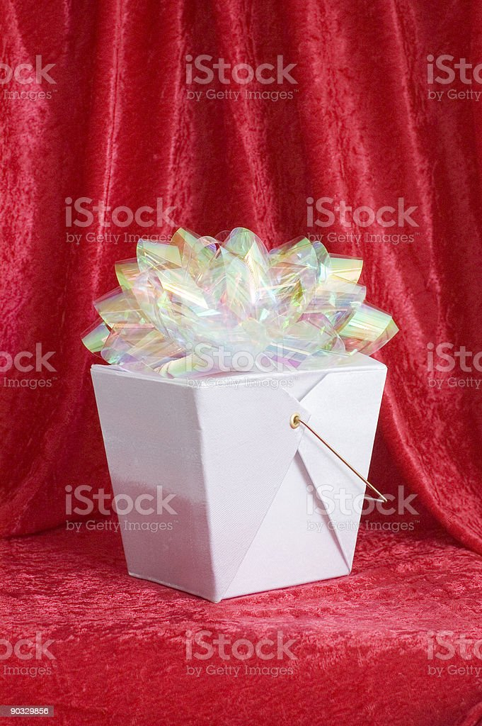 Chinese gift box with bow royalty-free stock photo