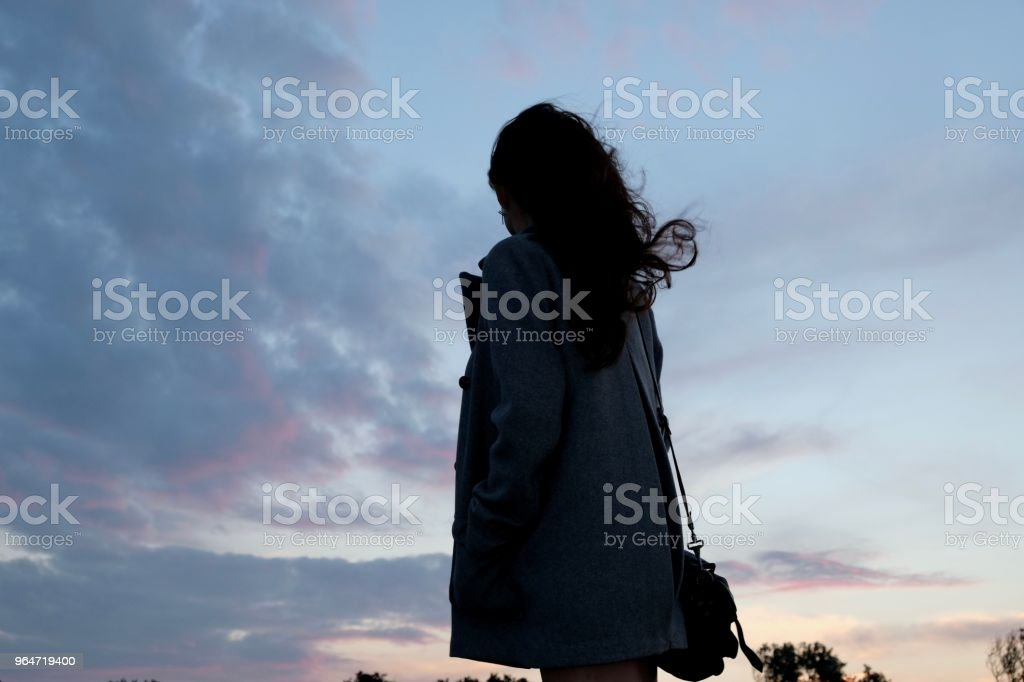 Chinese girl against sunset sky, hair blowing. royalty-free stock photo