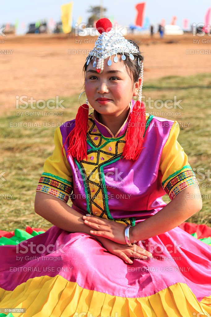 Chinese girl in traditional Chinese clothing stock photo