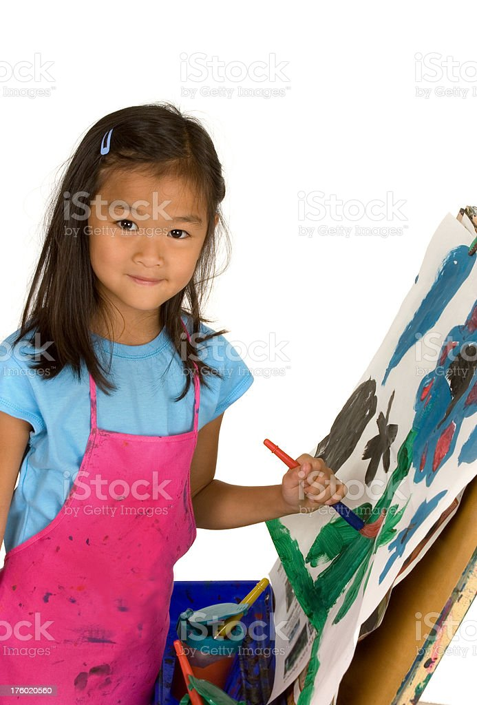 Chinese girl painting picture royalty-free stock photo