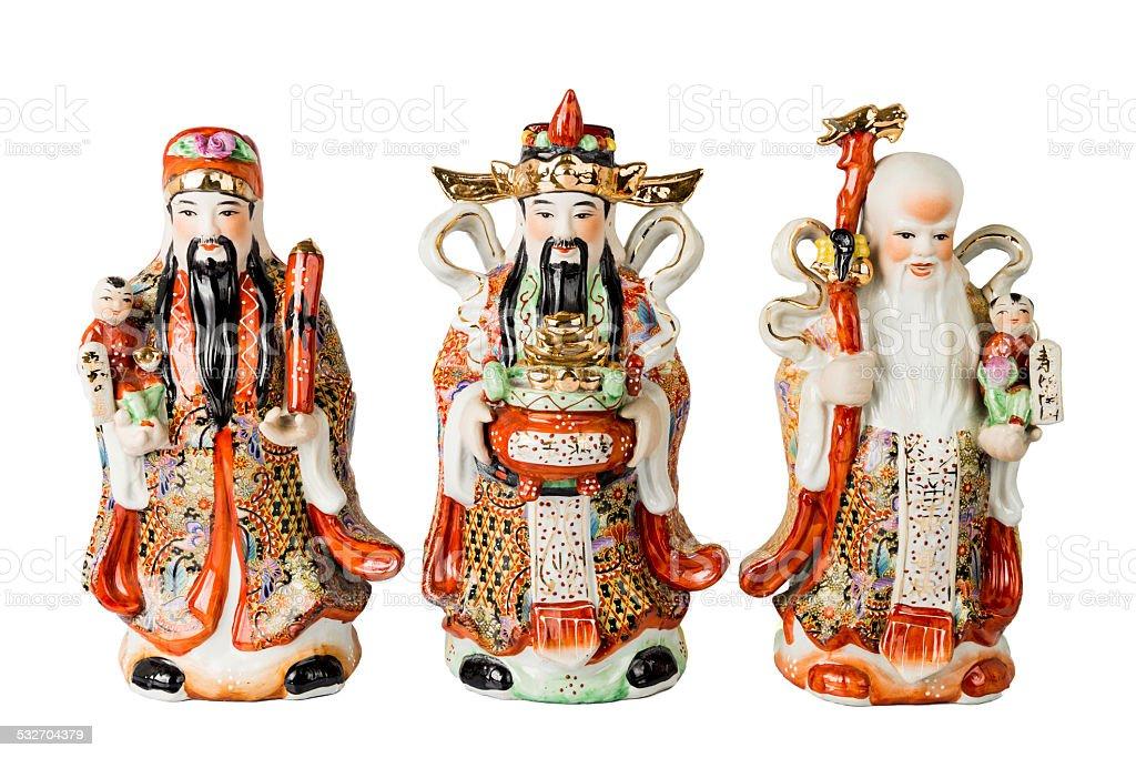 Chinese God of Fortune, Prosperity and Longevity figurine stock photo