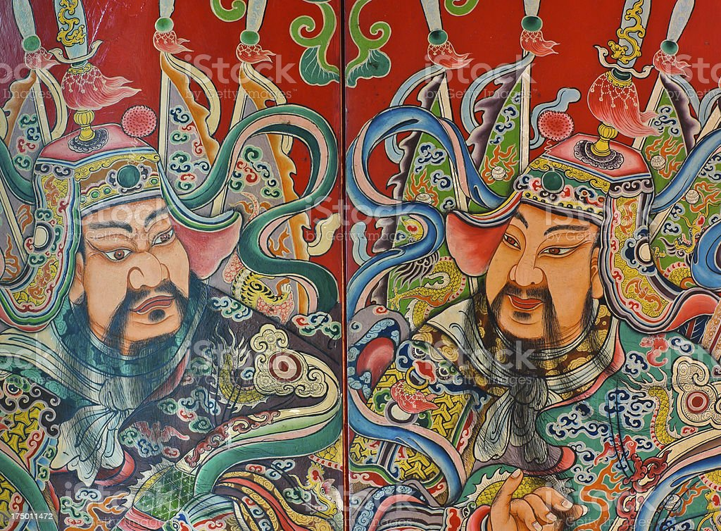 Chinese God painting stock photo