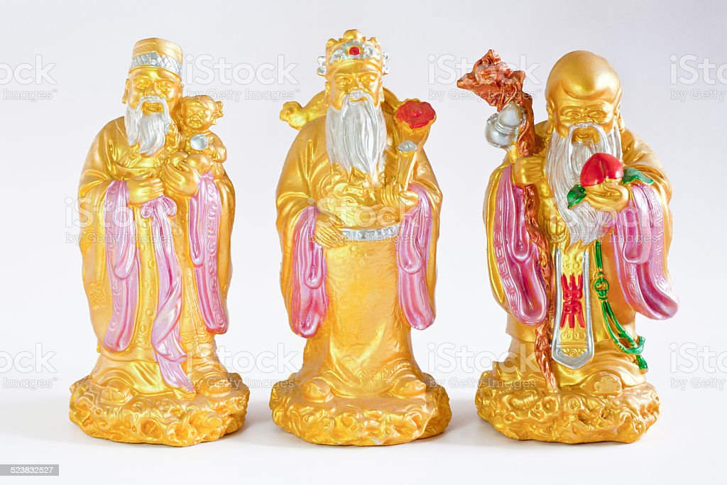 chinese gods - Lu Fu Shou stock photo
