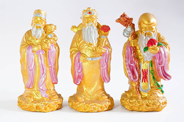 chinese gods - Lu Fu Shou stock photo
