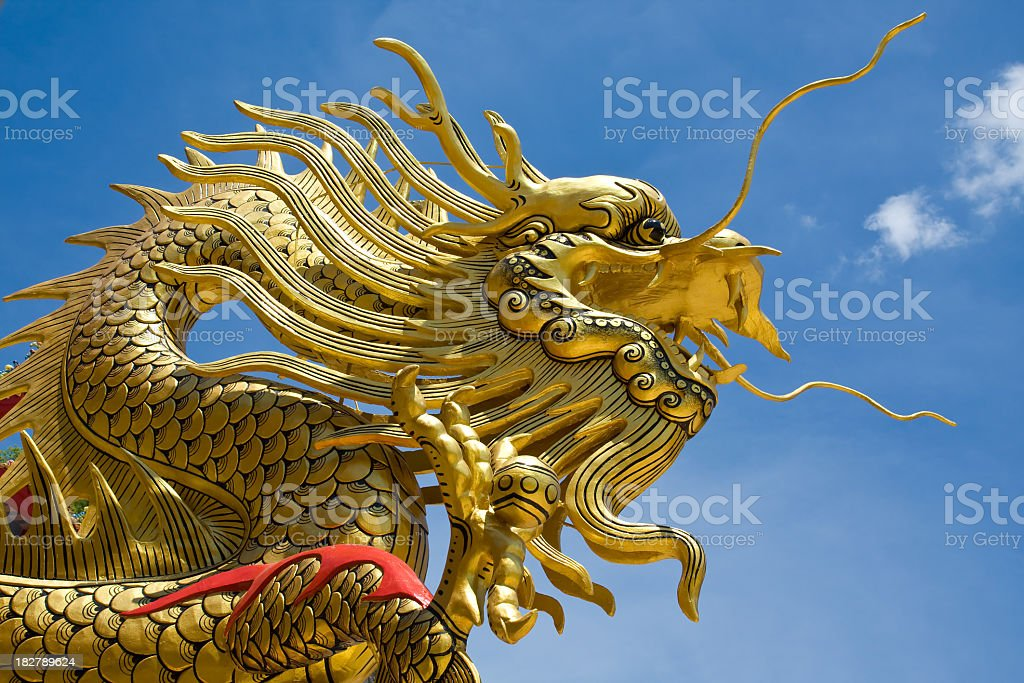 Chinese gold dragon royalty-free stock photo
