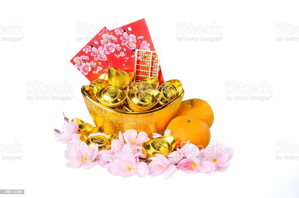 Chinese gold ingots decoration stock photo