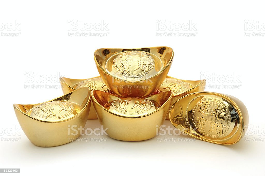 Chinese gold ingots  Ancient Stock Photo