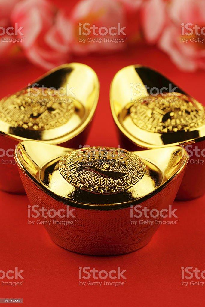 Chinese gold ingots royalty-free stock photo