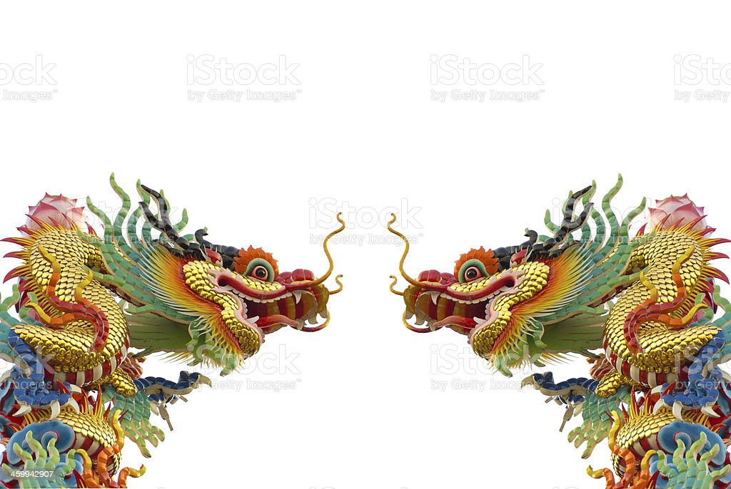 Chinese golden dragon on white background isolated stock photo