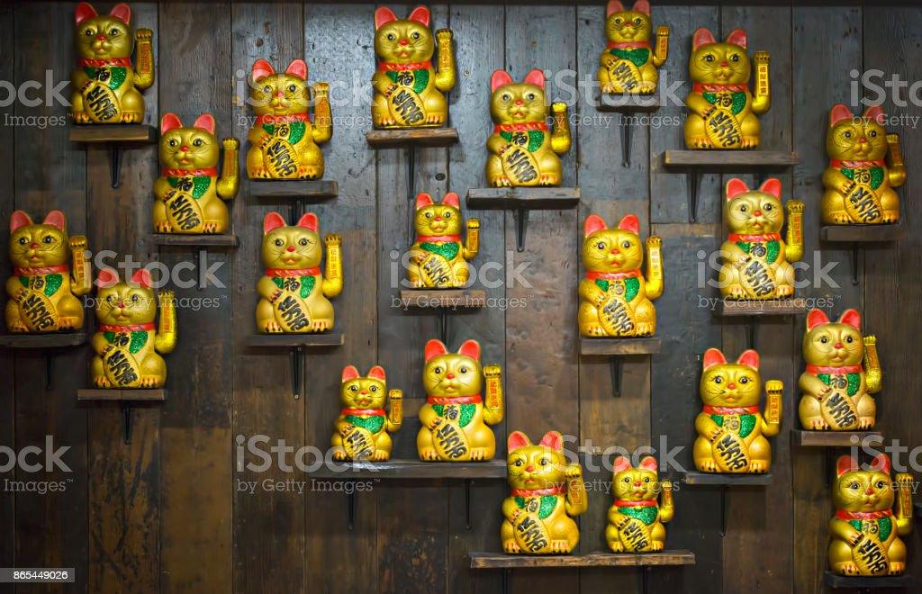 中国黄金招き猫置物 ストックフォト