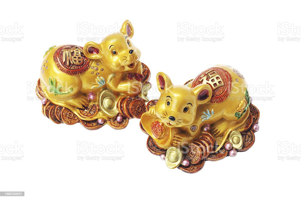 Chinese Golden Rat Ornaments stock photo
