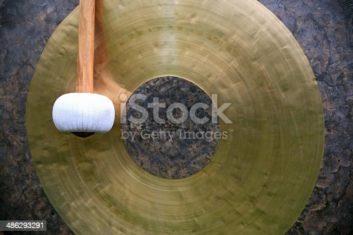 Close-up of an old chinese gong.