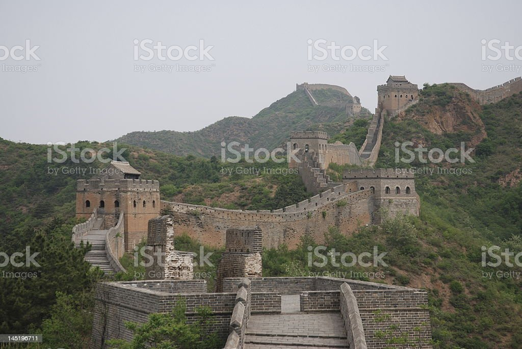 chinese great wall between jhinshalin and simatai royalty-free stock photo