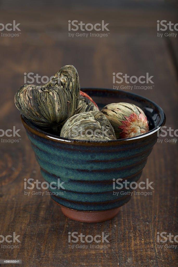 Chinese green tea ball stock photo