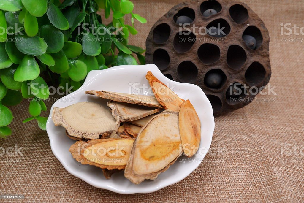 Chinese herbal drugs of lotus bean and dried tree stock photo