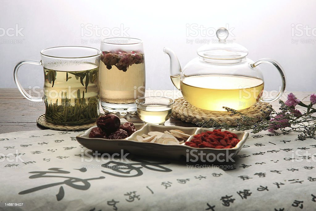 Chinese herbal medicine and tea set stock photo