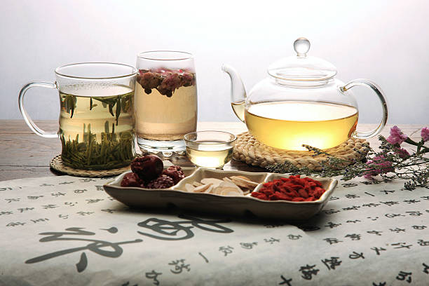 Chinese herbal medicine and tea set Chinese herbal medicine and tea set,still life chinese herbal medicine stock pictures, royalty-free photos & images