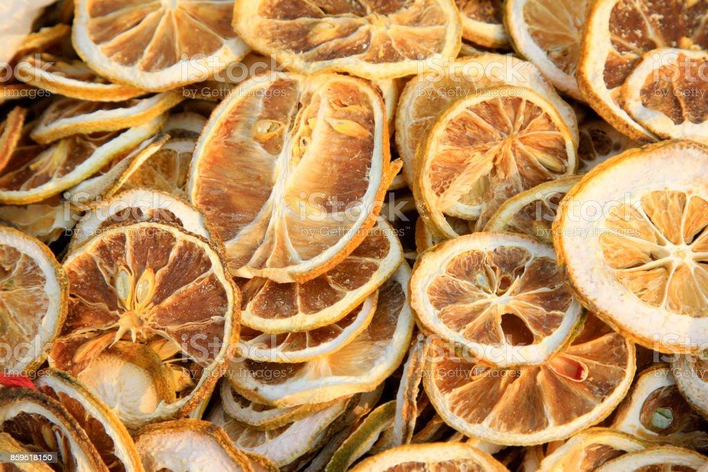 Chinese herbal medicine drying lemon slice, closeup of photo stock photo