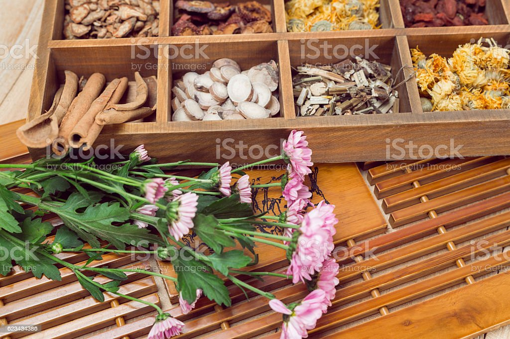 Chinese Herbal Medicine in box stock photo