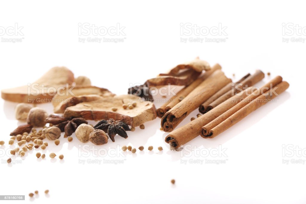 Chinese herbal medicine isolated in white background stock photo