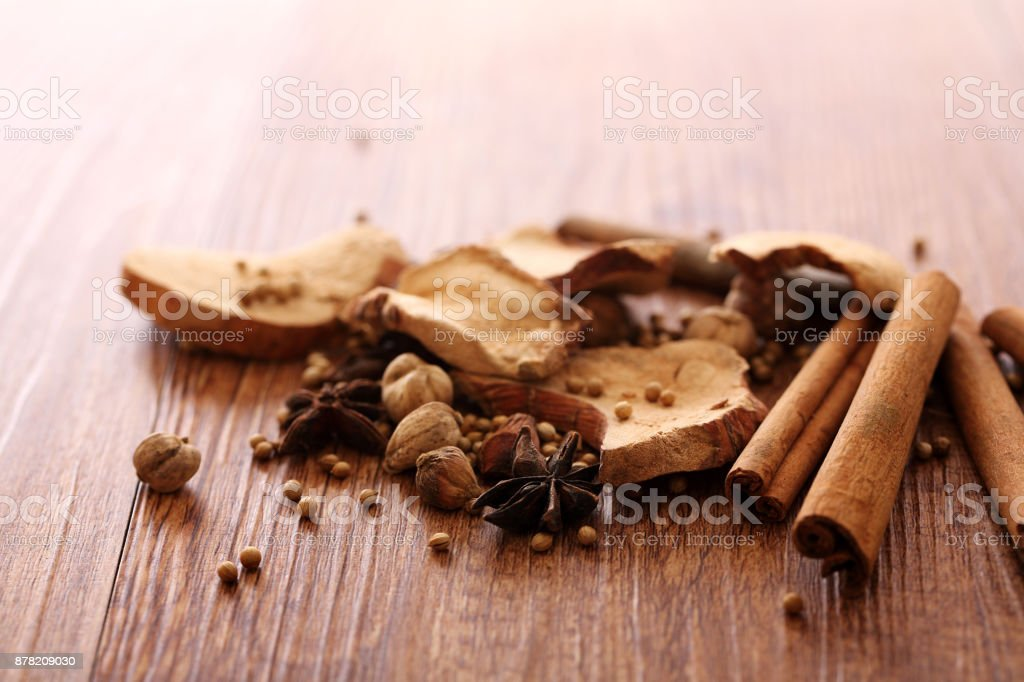 Chinese herbal medicine isolated in wood background stock photo