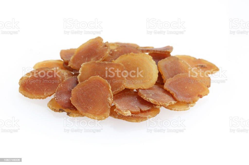 Chinese Herbal medicine - Korean Red Geinseng (Radix Ginseng rubra) stock photo