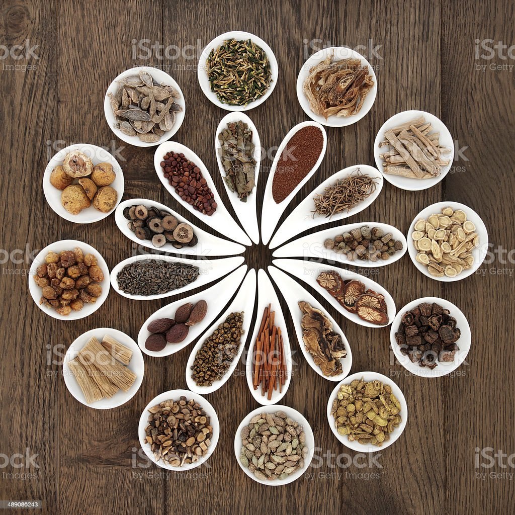 Chinese Herbal Medicine Platter stock photo