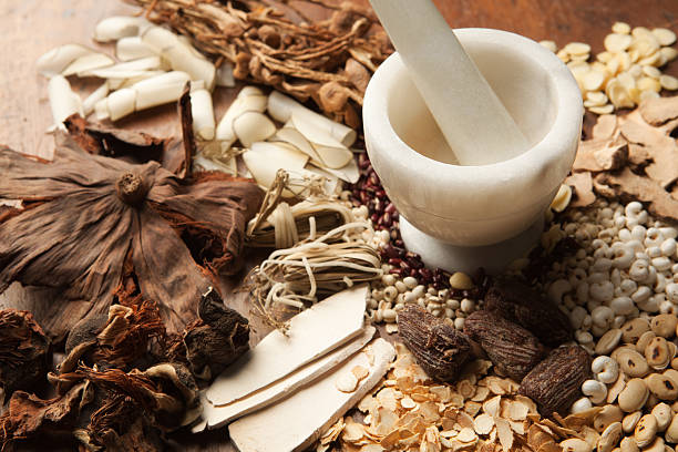 Chinese Herbal Medicine with Mortor and Pestle on Wood Hz Subject: A variety of Chinese herbal medicine ingredients and a mortar and pestle. chinese herbal medicine stock pictures, royalty-free photos & images