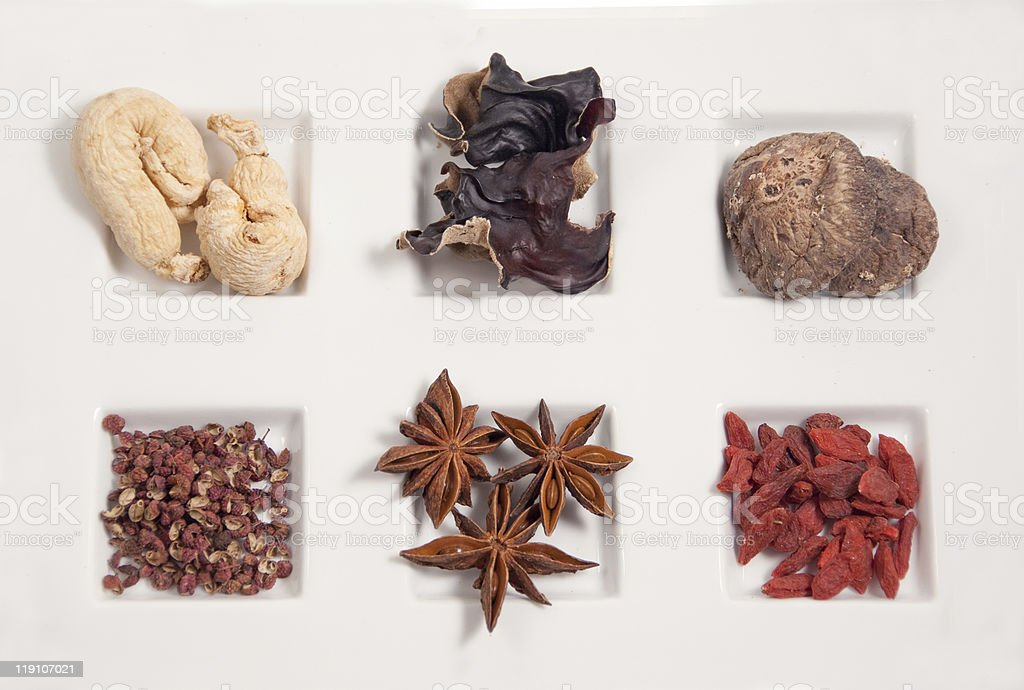 chinese herbs for cooking stock photo
