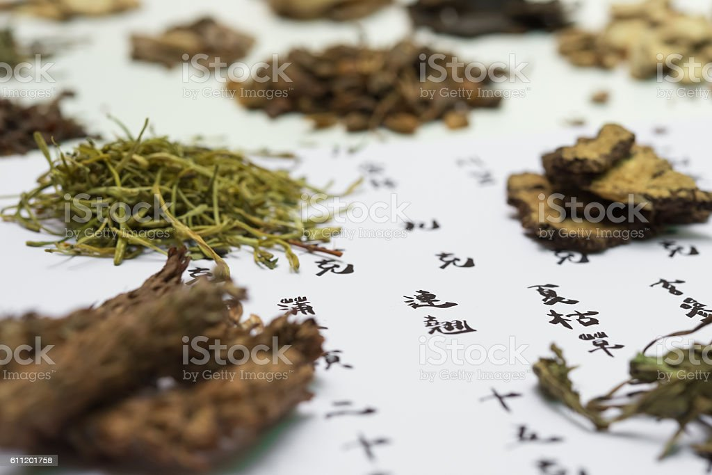 chinese herbs on a recipe stock photo