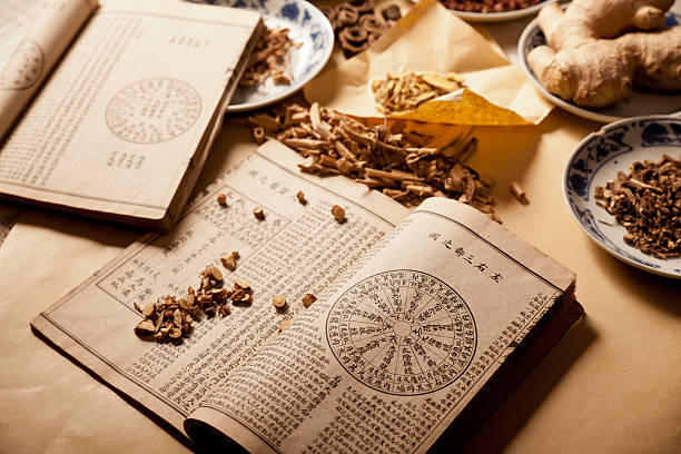 Chinese herbs Ancient Chinese medical books in the Qing Dynasty, the Chinese herbal medicine on the table chinese herbal medicine stock pictures, royalty-free photos & images