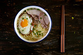 Chinese homemade noodles, made with pork fillet, fried egg and stock soup