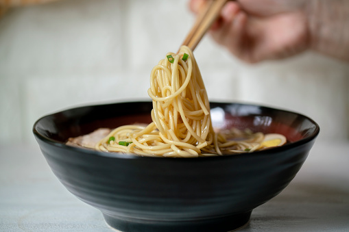 Chinese homemade noodles, with marinated soup