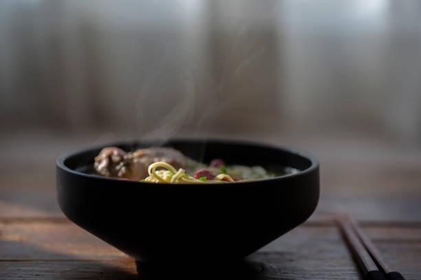 Chinese homemade rib broth noodles