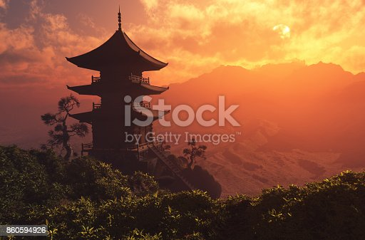 Chinese house in the mountains.,3d render