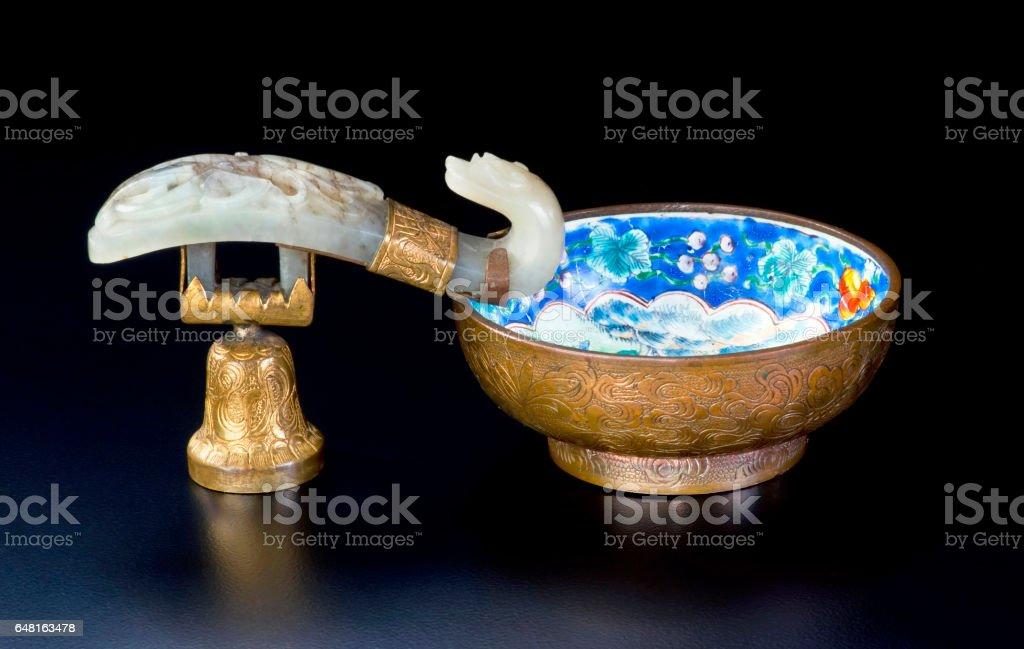 Chinese Jade Brush Washer. stock photo