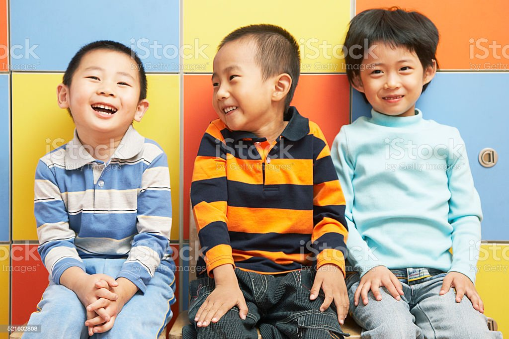 Chinese kindergarten student at school stock photo