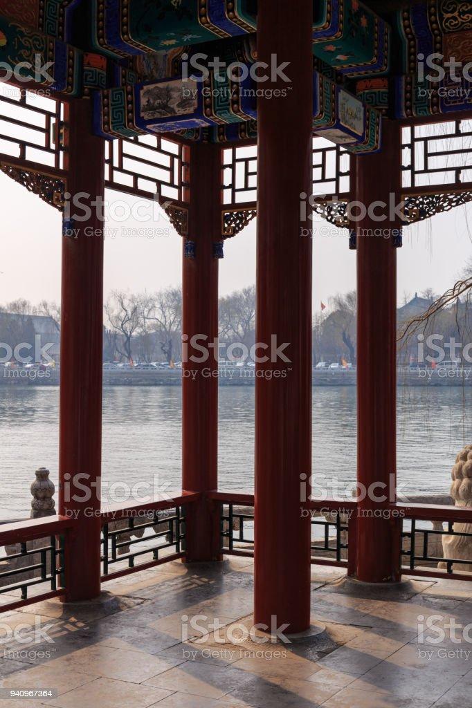 Chinese Lakeside Pavillion stock photo