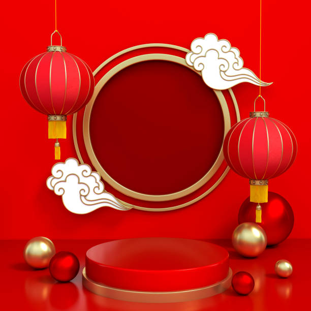 chinese lamp, metallic ball ornament and cloudy with podium display stand on red background 3d rendering. - chinese new year stock pictures, royalty-free photos & images