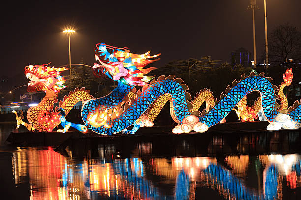 chinese lantern dragon - chinese new year stock pictures, royalty-free photos & images
