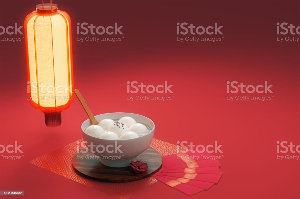 Chinese Lantern Festival food.3d rendering stock photo