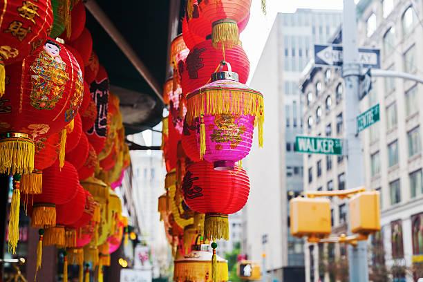 chinese lantern in chinatown, manhattan, nyc - chinatown stockfoto's en -beelden
