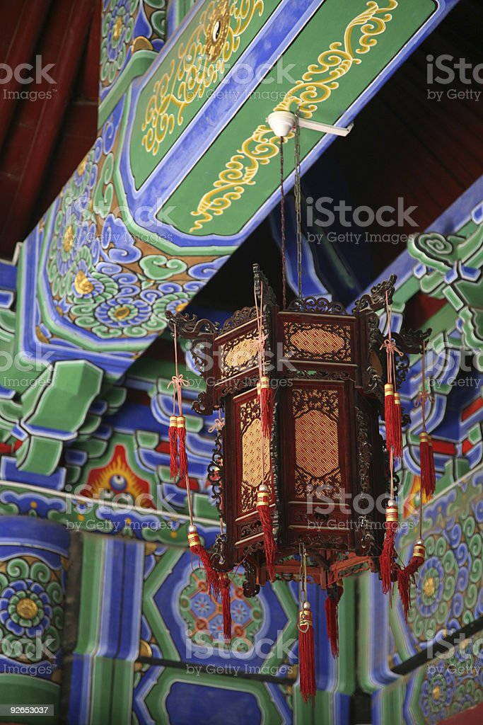 Chinese Lantern Outside Temple royalty-free stock photo