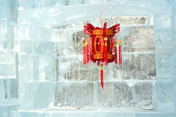 Chinese lantern Chinese lantern and ice wall. harbin stock pictures, royalty-free photos & images