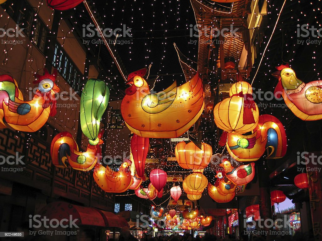 Chinese Lanterns at night - Year of the Cock stock photo