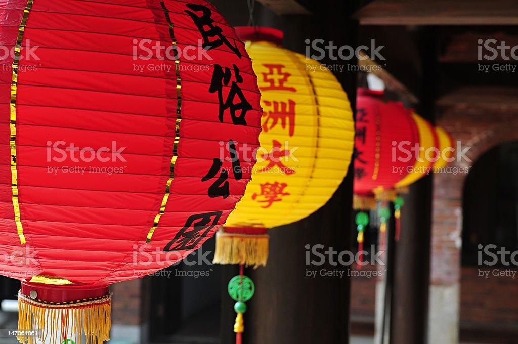 Chinese lanterns hanging on temple's hallway royalty-free stock photo