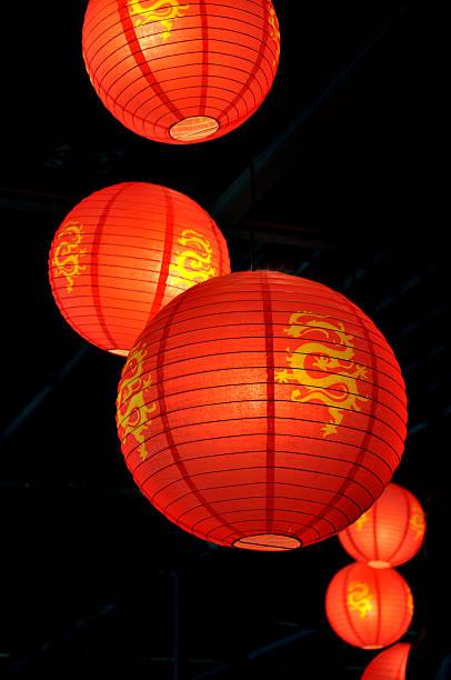 chinese lanterns - rislampa bildbanksfoton och bilder