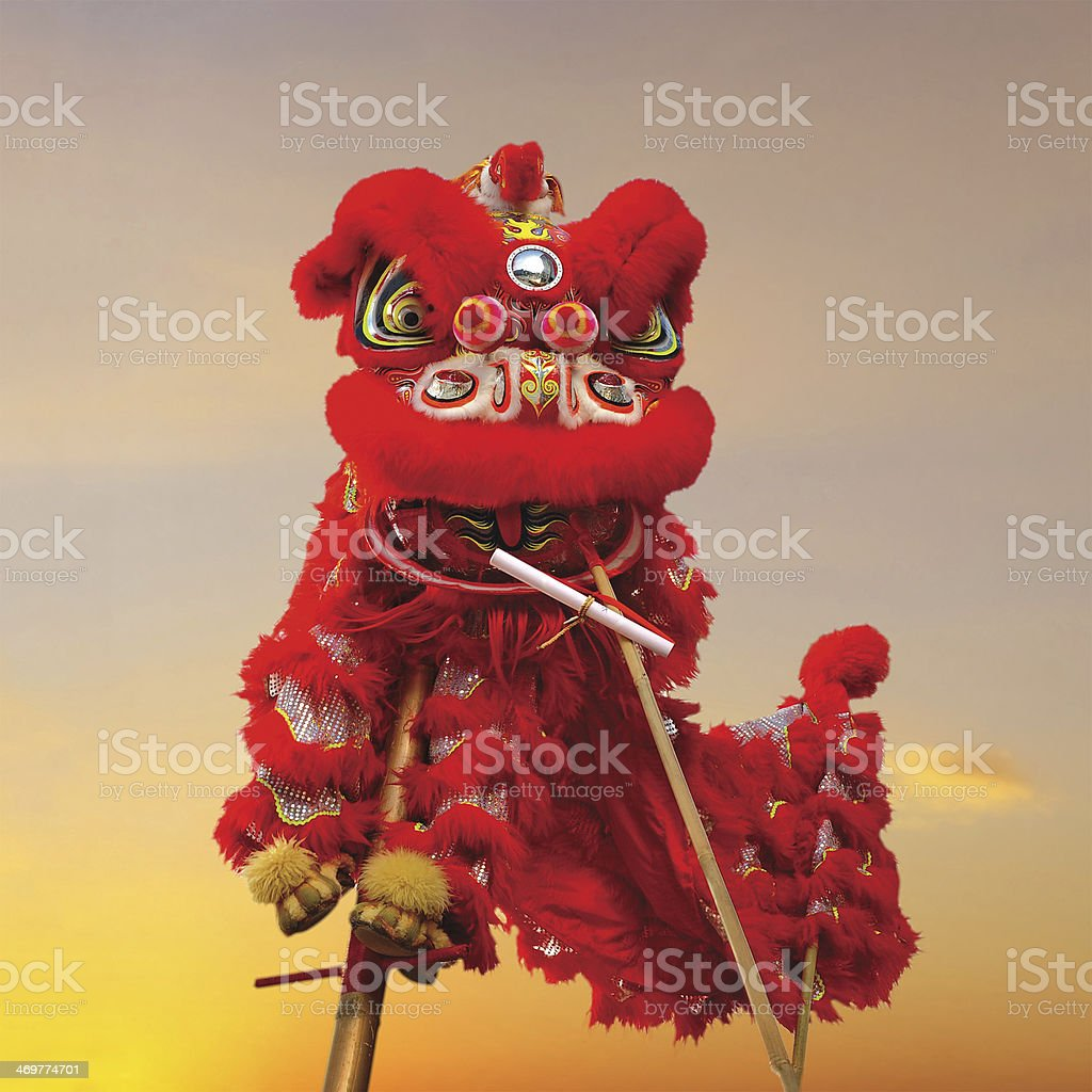 Chinese lion costume (for Chinese New Year celebration) stock photo